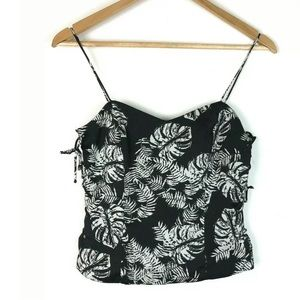 Zara Trafaluc XS Black White Hawaiian Top Lace Up